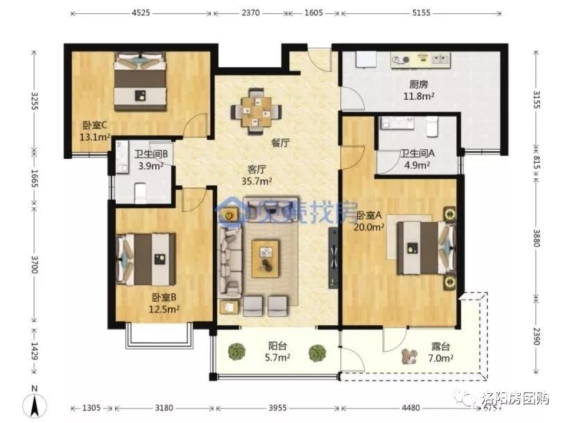 洛阳房团购二手房:洛龙区开元大道大曌国际豪装三室出售。